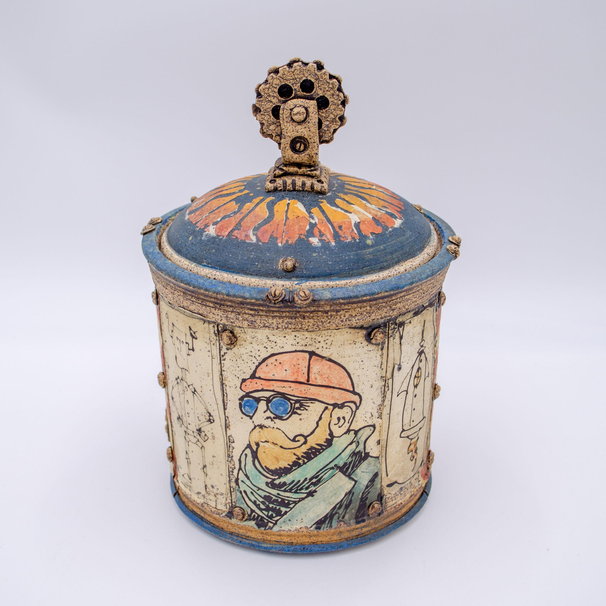 ceramics Virginia pottery bear hand building animals underglaze transfer steampunk